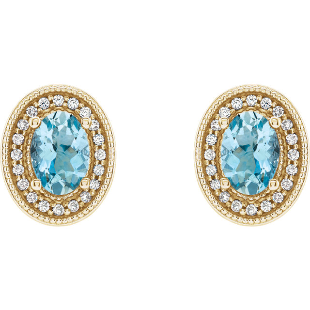 Aquamarine Earrings With Diamond Halo — Jewelry Manufacturers .