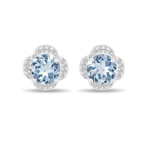 3.32 Carat Aquamarine Earrings, Flower Cluster Diamond Earrings .