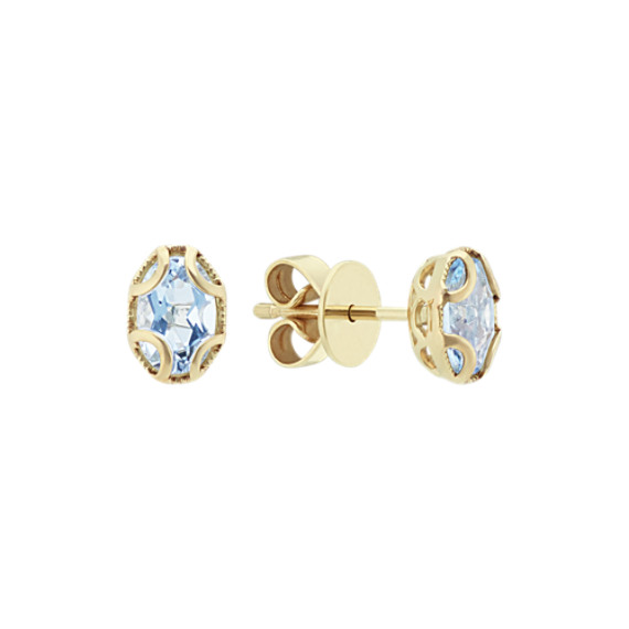 Vintage Oval Aquamarine 14k Yellow Gold Earrings | Shane C
