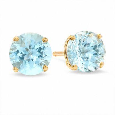 6.0mm Aquamarine Stud Earrings in 14K Gold | Aquamarine March .