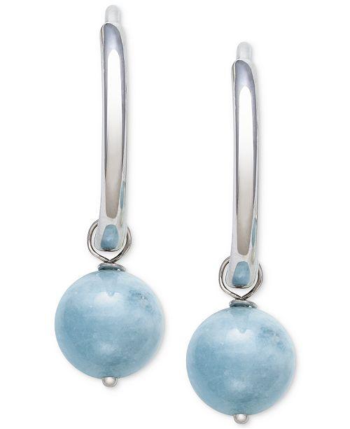 Macy's Milky Aquamarine (8mm) Dangle Hoop Earrings in Sterling .