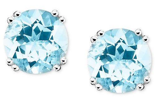 Macy's 14k White Gold Aquamarine Stud Earrings (3 ct. t.w. .