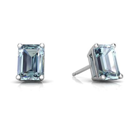 Aquamarine Emerald-Cut Stud earrings E1856-WAQ