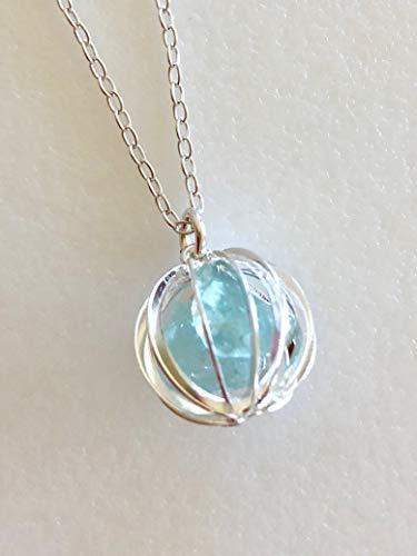Amazon.com: Aquamarine Cage Necklace, Blue Aquamarine Gemstones .