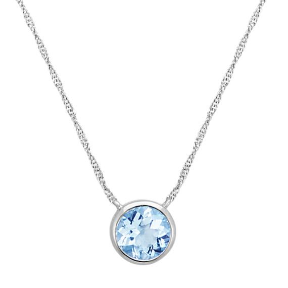 Bezel-Set Round Aquamarine Necklace in 14k White Gold (18 in .