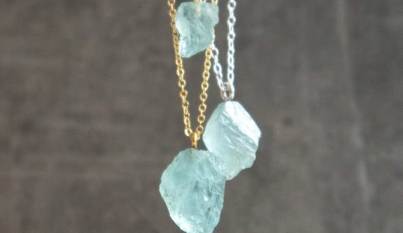 Raw Aquamarine Necklace Raw Crystal Necklace March | Et