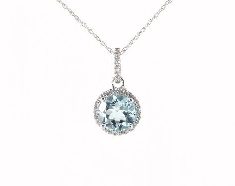 necklaces, gemstone necklaces, 14k white gold aquamarine and .