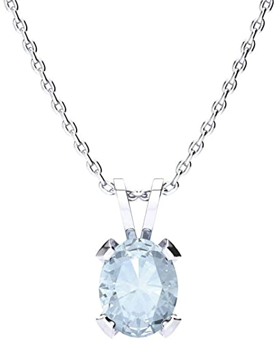 Amazon.com: Oval Shape Aquamarine Necklace - 1cttw | Available in .