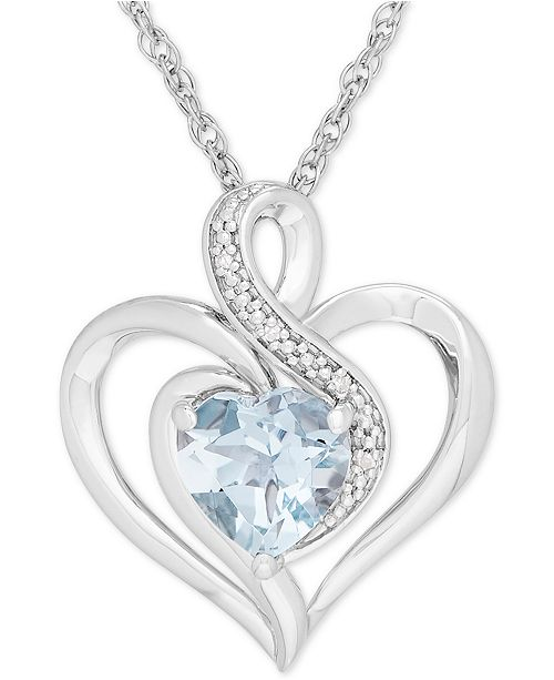 Macy's Aquamarine (1-1/10 ct. t.w.) & Diamond Accent Heart Pendant .