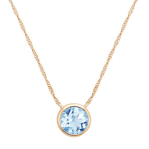 Bezel-Set Round Aquamarine Necklace in 14k Yellow Gold (18 in .
