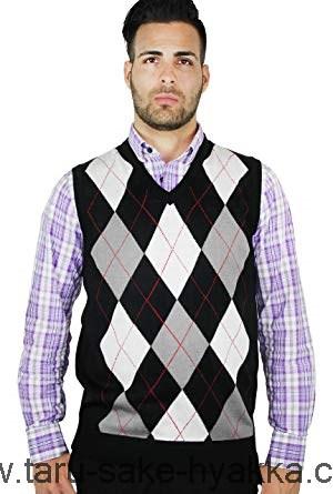 Blue Ocean Men's Argyle Sweater Vest Black/Red Str EETQNF3BAOOF49