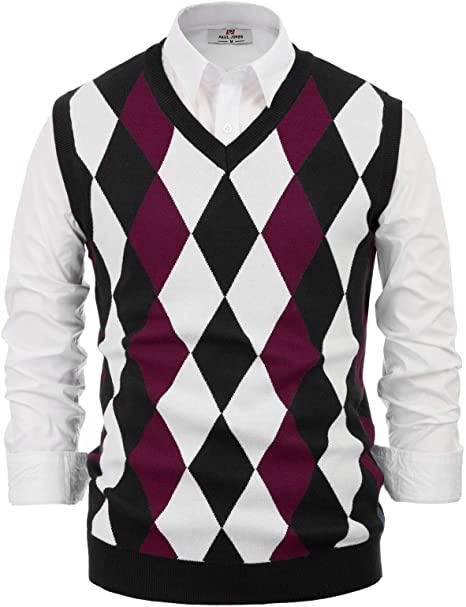 PAUL JONES Mens Argyle Sweater Vest Casual V-Neck Pullover Vest at .