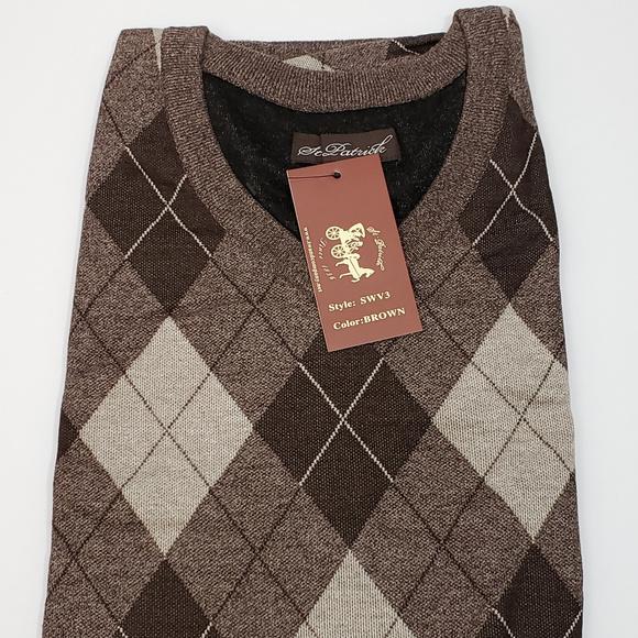St. Patrick Sweaters | Mens V Neck Brown Argyle Sweater Vest 2xl .