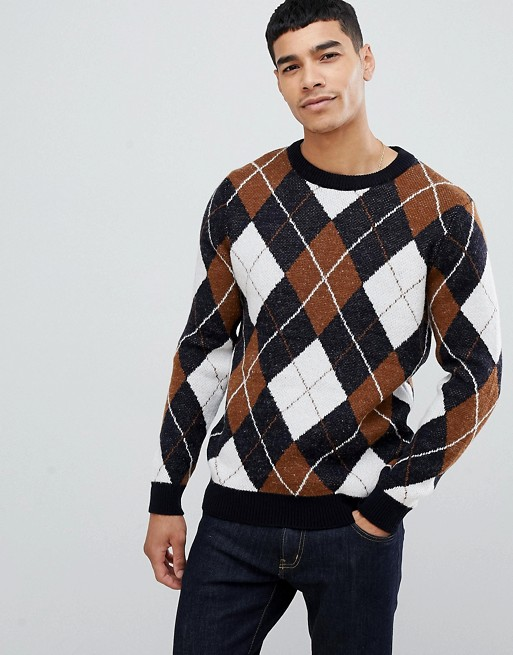 New Look argyle sweater with crew neck in navy | AS