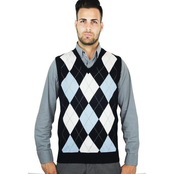 Shop Men's Argyle Sweater Vest (SV-255) - Overstock - 235008