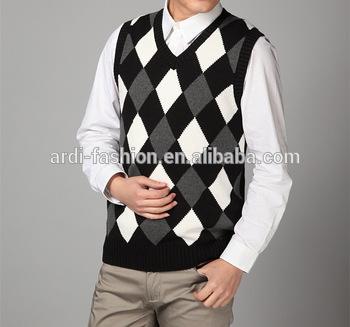 Men Intarsia Knitting Pattern Sleeveless Argyle Sweater Vest - Buy .