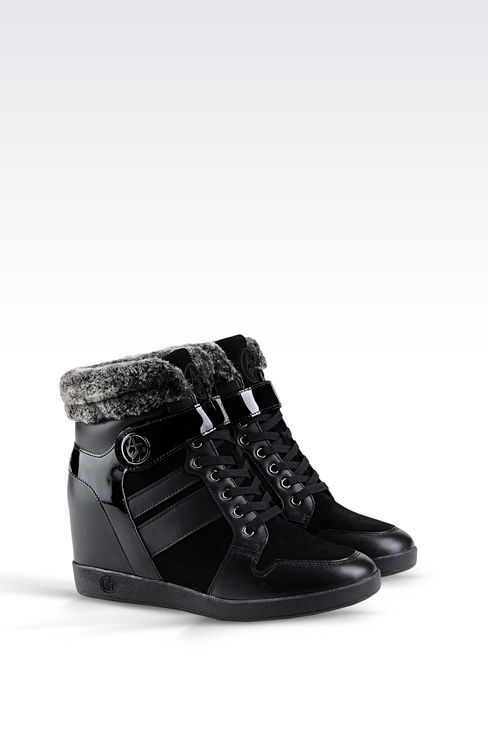 Armani Jeans Women Sneaker - HIGH TOP SNEAKER IN LEATHER WITH .