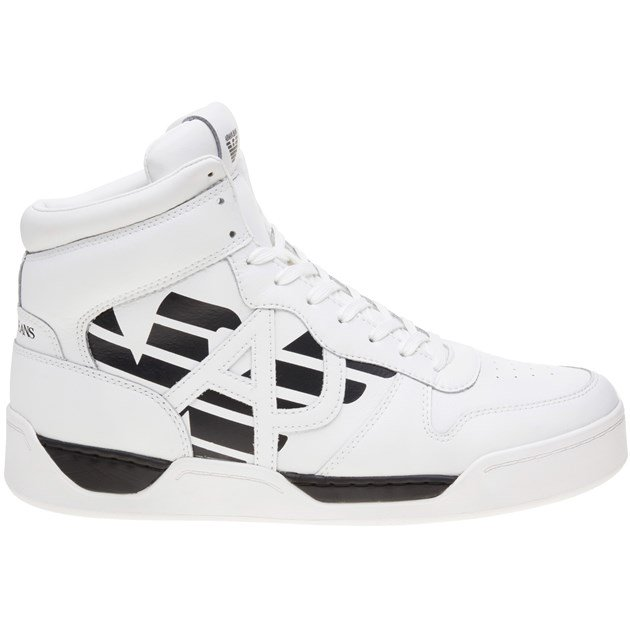 Cheap Mens White Armani Jeans High Top Sneaker at Soletrader Outl