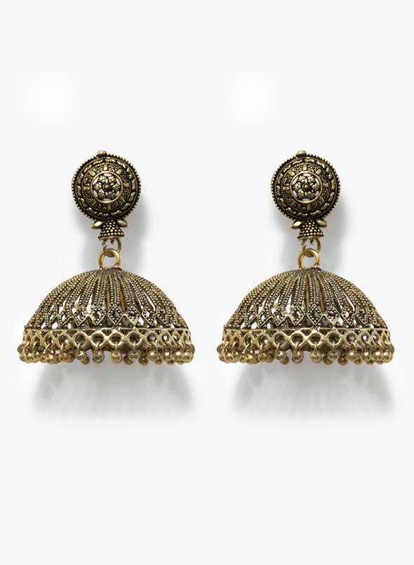 Buy Sia Art Jewellery Golden Oxidised Jhumka Earring Online .