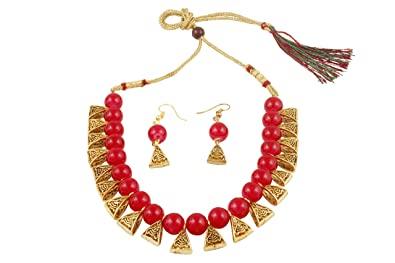 Buy Apsara Art Jewellery Gold Plated Oxidise Polish Metal Red .