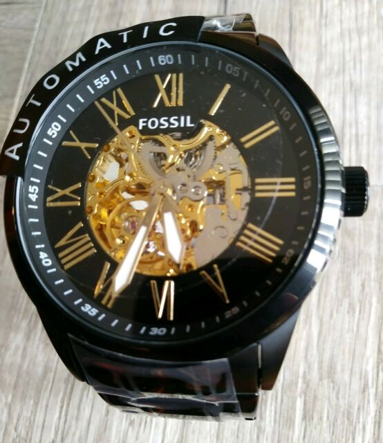 New Fossil Skeleton Automatic Black Ion Stainless Steel Men's .