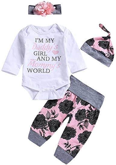 Amazon.com: Baby Girl Clothes Daddy's Girl Mommy's World Long .