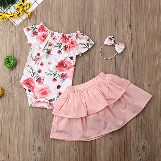 Amazon.com: 3PCS Floral Baby Dress Summer Newborn Baby Girl .