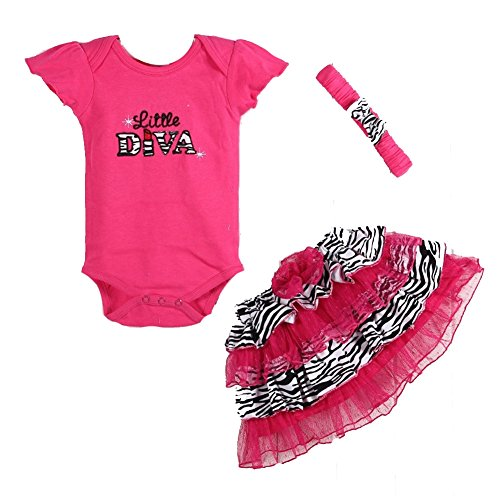 Baby Girl Clothes Bodysuit 3 Pcs Romper Headband Skirt (0-3 .