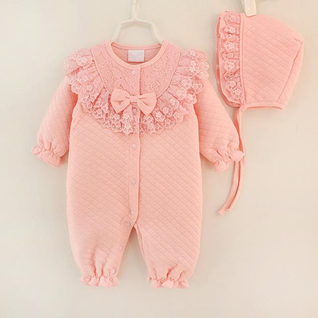 Winter Newborn Baby Girl Clothes Cotton Thicken Coveralls Rompers .