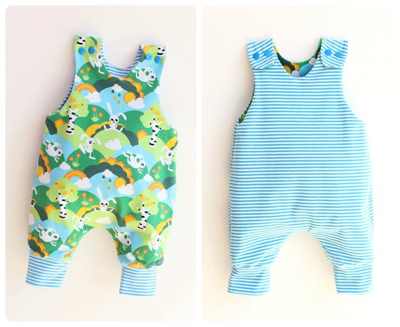 JUMPY Baby Romper pattern Pdf sewing REVERSIBLE Jersey Woven | Et