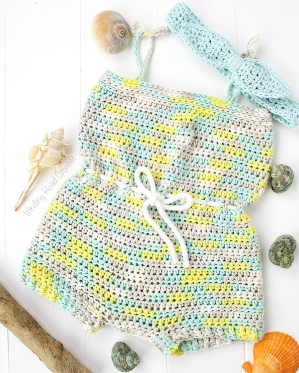 Beachside Baby Romper Free Crochet Pattern - Winding Road Croch