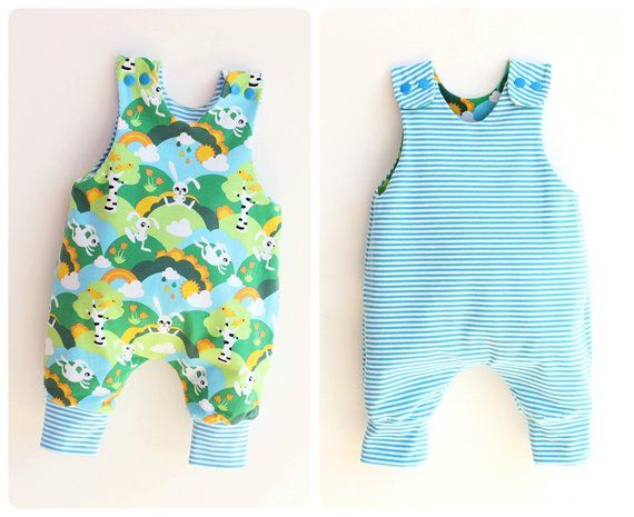 JUMPY Baby Romper pattern Pdf sewing, REVERSIBLE Jersey Woven .