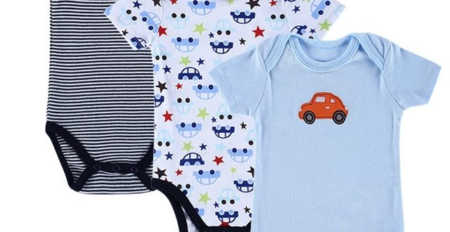 3 Pieces/lot Baby Romper Set Blue Car Designed Short Sleeved .