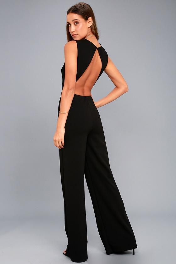 Sexy Black Jumpsuit - Backless Jumpsuit - Wide-Leg Jumpsu