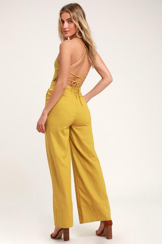 Mustard Jumpsuit - Lace-Up Jumpsuit - Backless Jumpsu