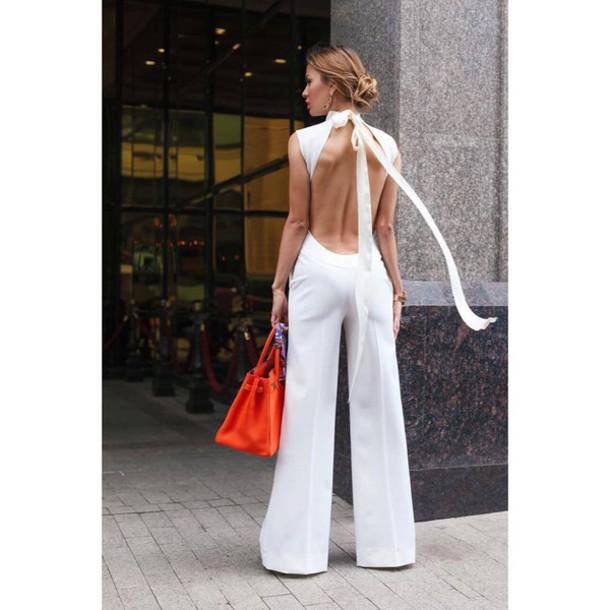 jumpsuit, backless jumpsuit, white jumpsuit, open back, backless .