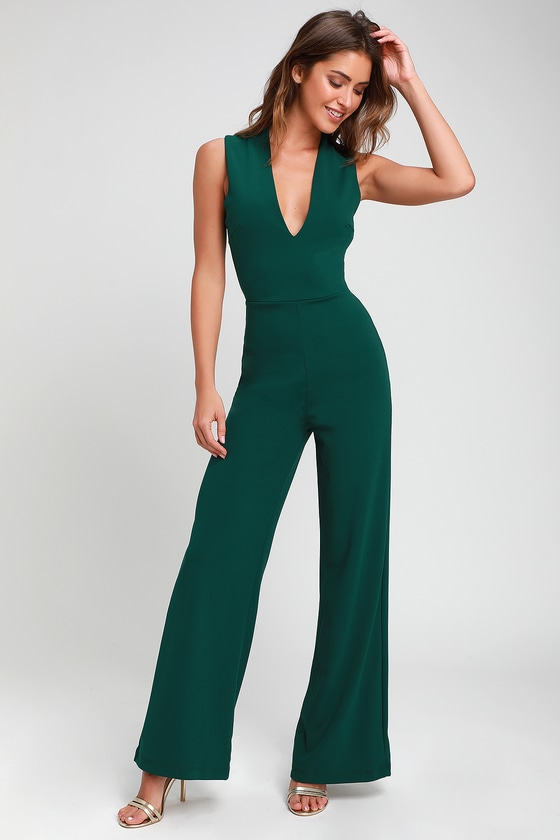 Cute Green Jumpsuit - Backless Jumpsuit - Sleeveless Jumpsu