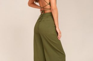 Olive Green Jumpsuit - Lace-Up Jumpsuit - Backless Jumpsu