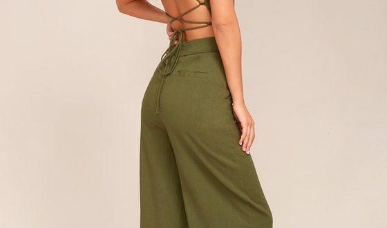 Olive Green Jumpsuit - Lace-Up Jumpsuit - Backless Jumpsu