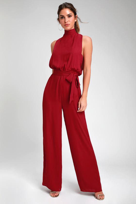 Chic Wine Red Jumpsuit - Backless Jumpsuit - Mock Neck Jumpsu