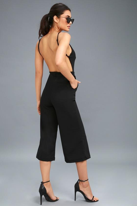 Chic Backless Jumpsuit - Culotte Jumpsuit - Black Jumpsu