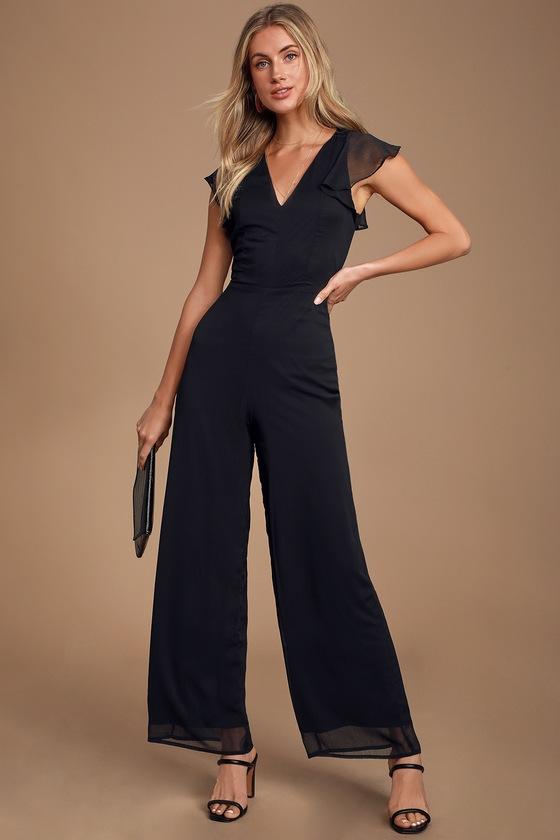 Lulus Black Jumpsuit - Chiffon Jumpsuit - Flutter Sleeve Jumpsu