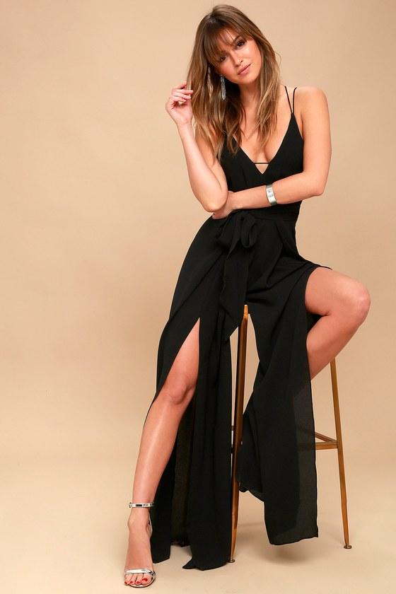 Sexy Backless Jumpsuit - Black Wide-Leg Jumpsu