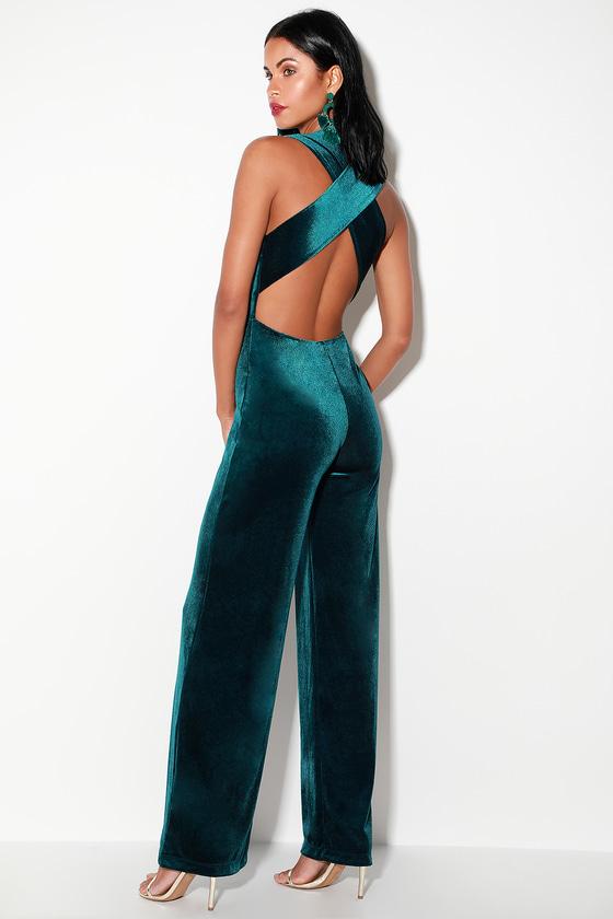 Sexy Dark Teal Jumpsuit - Velvet Jumpsuit - Backless Jumpsu