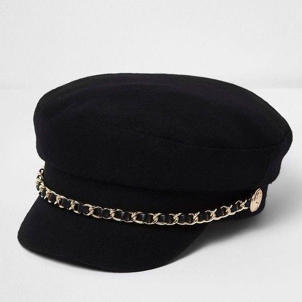 River Island Black chain trim baker boy hat ($36) ❤ liked on .