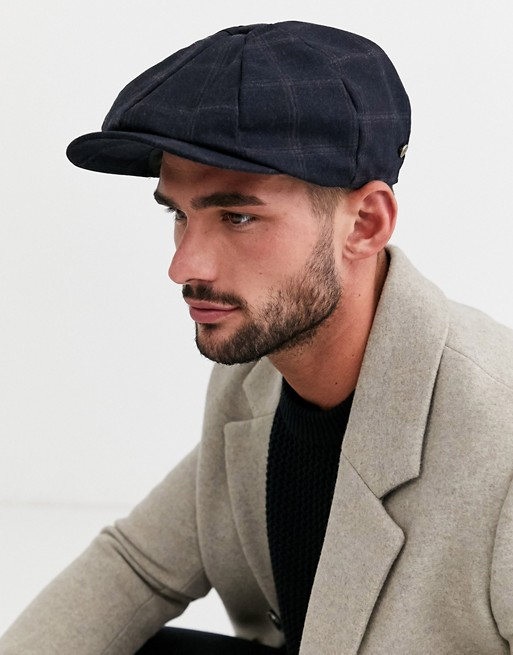 River Island baker boy hat in navy check | AS