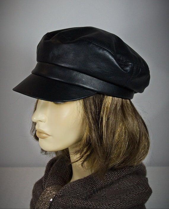 Baker Boy Hat Black Leather Cap Breton Hat Leather Cap | Et