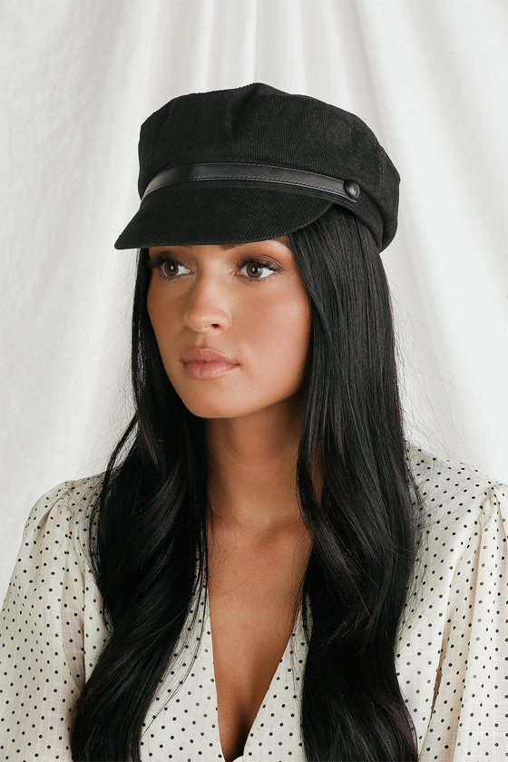 Cute Black Corduroy Hat - Baker Boy Cap - Baker Boy H