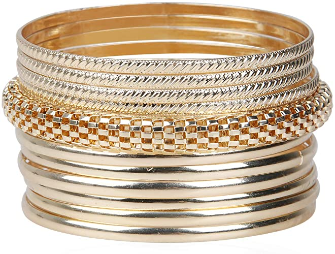 Amazon.com: TQS Gold Bangle Bracelets Multilayer Charm Indian .