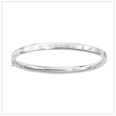 ABC White Gold Bangle Bracelet 4.5 inches with engraved alphabet .